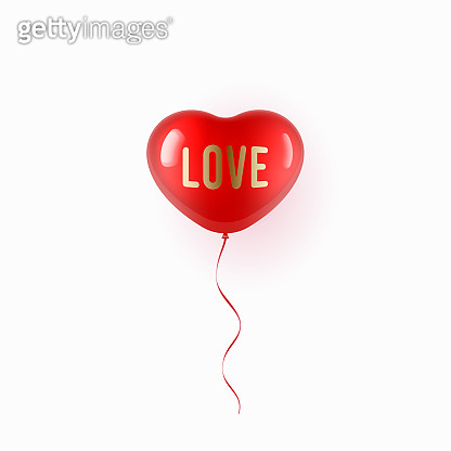 Flying red balloon in heart shape over white background