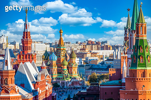 Red Square with Moscow Kremlin and St Basil's Cathedral, Historical buildings ancient architecture  national landmark. tourist dream destination, Moscow, Russia.