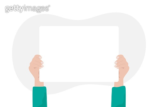 Hands holding empty white placard or poster. Hand holding a blank sheet of paper. Vector illustration