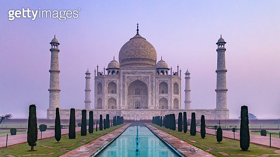 Taj Mahal is an ivory white marble mausoleum on Yamuna river in the Indian city, Taj Mahal is most beautiful monuments in India and one of the wonders of the world, Agra, Uttar Pradesh, India.