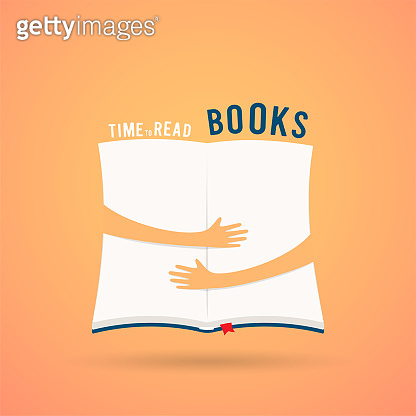 Covered opened book with hands hug. Vector illustration