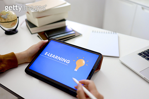 E-Learning concept with website on tablet. Education Internet Technology Webinar Online