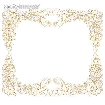 Golden vintage border frame engraving with retro ornament pattern in antique baroque style decorative design. Vector.