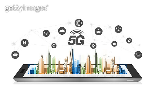 Smartphone and 5G symbol new wireless internet wifi connection. Fifth innovative generation of the global high speed Internet network using modern digital devices.
