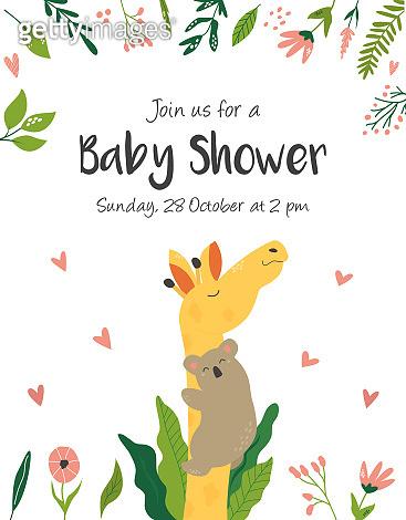 Baby Birthday invitation card with cute animals