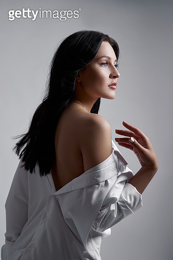 Fashionable Brunette Woman, Studio Shot