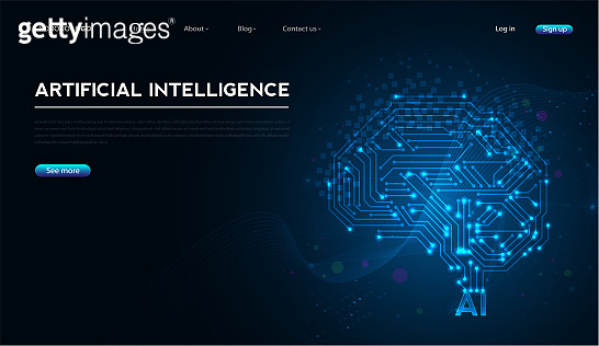 Artificial intelligence with brain circuit board. digital is learning processing big data. technology and engineering concept. vector design.
