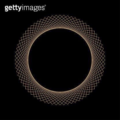Decorative round gold frame for design. Elegant design element for logos, web, illustrations. Vector illustration