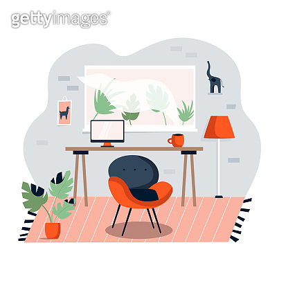 Home office interior. Working space with table, laptop, cozy chair. Room design