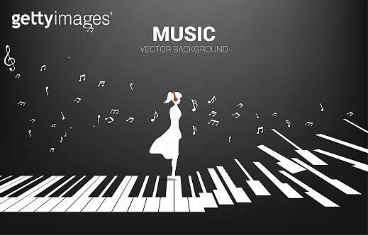 Vector silhouette of woman standing with piano key with flying music note .