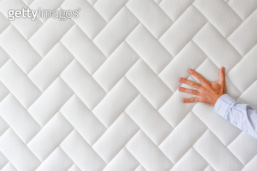 Conceptual image of new mattress with rectangular pattern.
