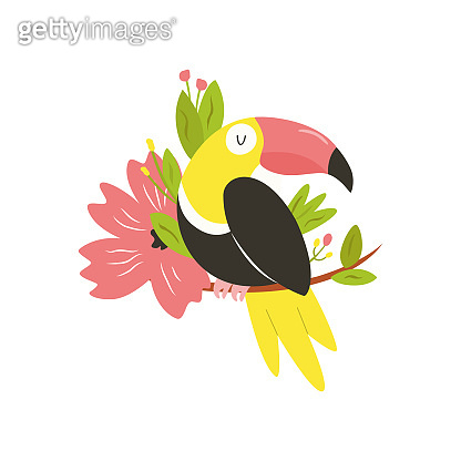 Bright illustration of cute toucan bird in flowers