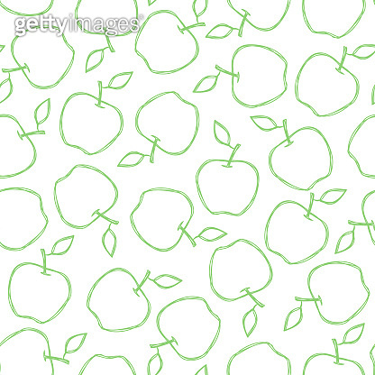 Vector seamless summer pattern with apples. Tasty fruits drawn in line art