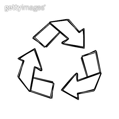 Vector line art drawing of recycling sign. The universal recycle symbol. Eco icon isolated on white background