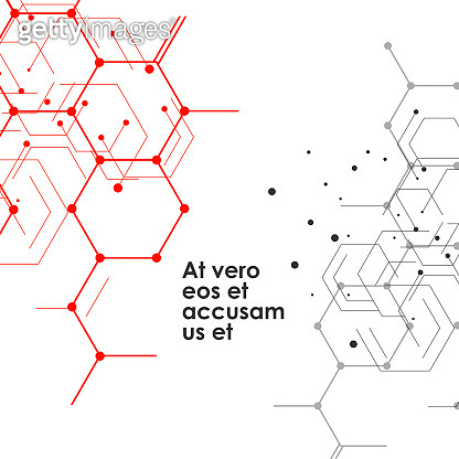 Hexagons connect abstract background. Geometric science and technology motion design. Vector illustration