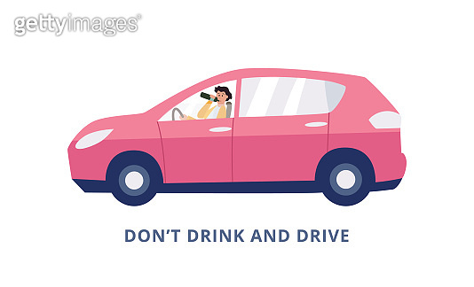 Banner demanding no drinking and driving with drunk woman vector illustration.