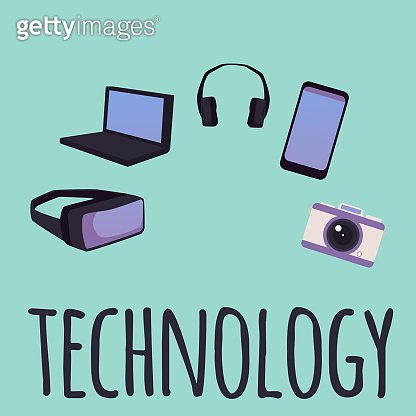 Technology banner with gadgets and electronic devices, flat vector illustration.