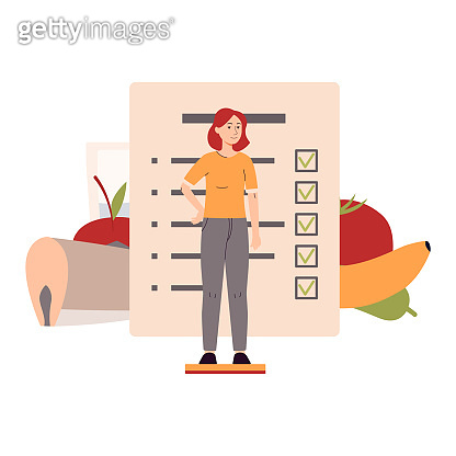 Diet planning concept with woman character flat vector illustration isolated.