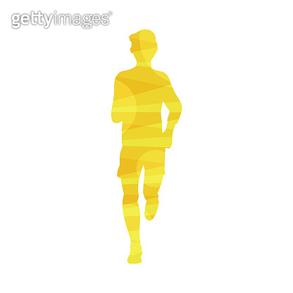Man yellow silhouette running marathon or jogging fvector illustration isolated.