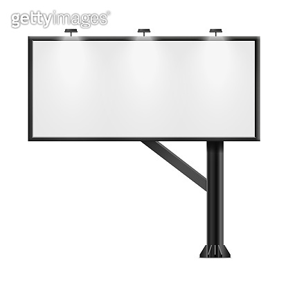 Black billboard with blank ad poster space isolated on white background
