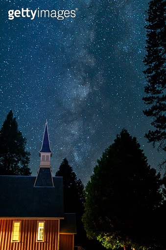 Milky Way Galaxy with church steeple taken from Yosemite Valley