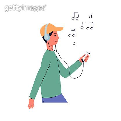 Young man or teenager boy enjoying flat cartoon vector illustration isolated.