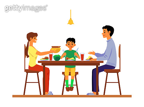Parents and child dining and talking at table flat vector illustration isolated.
