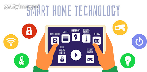 Smart house banner - buttons on control panel flat vector illustration isolated.