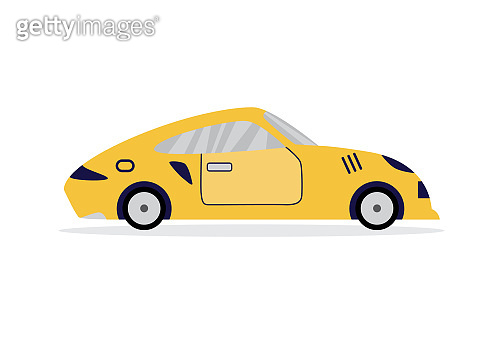 Yellow sport car from side view - fast speed vehicle