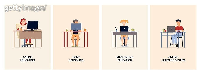 A set of vector posters of the concept of home online learning.