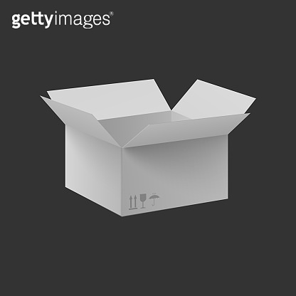 Side view open white box container realistic vector mockup illustration isolated.