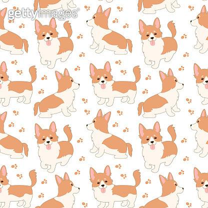 Seamless pattern with Cute welsh corgi.