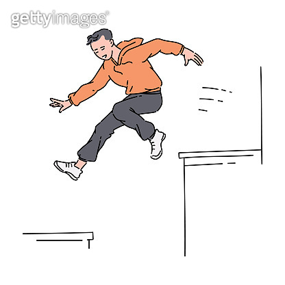 Parkour sportsman jumping from roof cartoon sketch vector illustration isolated.