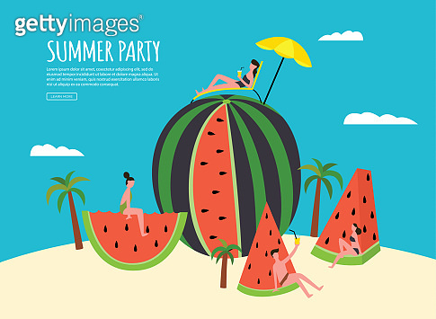 Summer party banner with watermelon and people flat vector illustration.