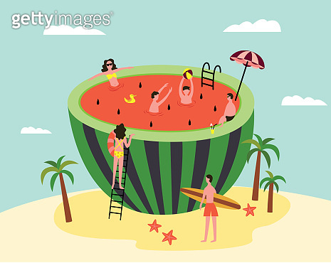 Watermelon swimming pool - cartoon people on tropical summer island