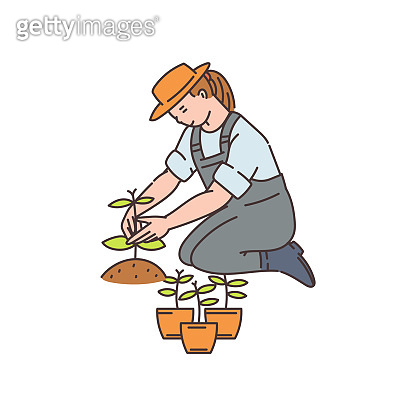 Agronomist and farmer woman works in field, sketch vector illustration isolated.