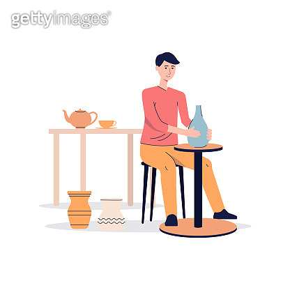 Ceramist making clay vase on pottery wheel, flat vector illustration isolated.