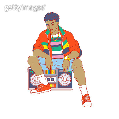 Cartoon man in 80-s retro fashion clothes sitting on boom box