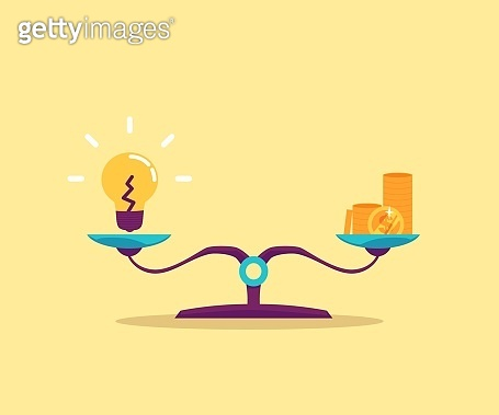 Idea against money on balance scales, flat vector illustration isolated.
