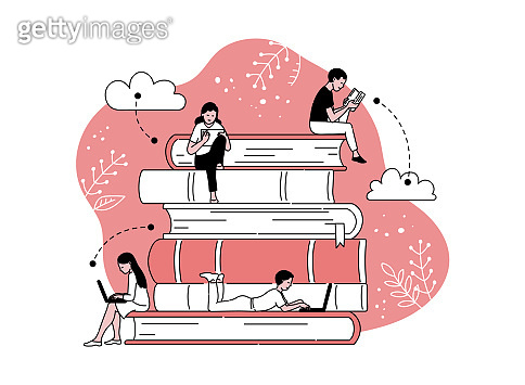 People sit on stack of books and reading, cartoon vector illustration isolated.