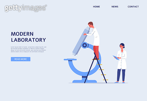 Modern laboratory website banner with people and miscroscope