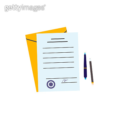 Paper document, yellow envelope and pen and paper - flat isolated illustration