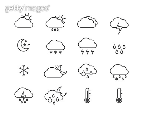 Weather icon set for sunny, rainy and snowy day and night