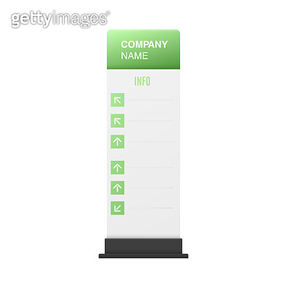 Interior signage stand pole mockup realistic vector illustration isolated.