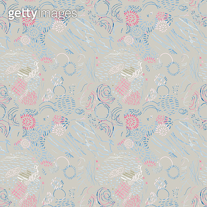 Seamless pattern with hand drawn abstract lines, doodles