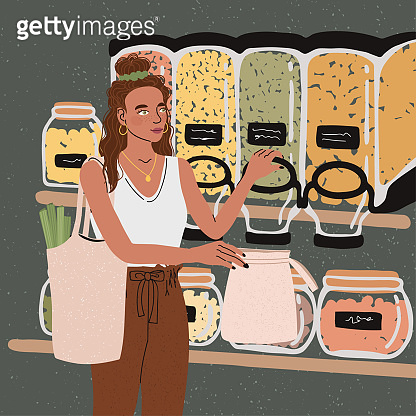 Illustrations of cute young girl with eco bag buy food in zero waste store