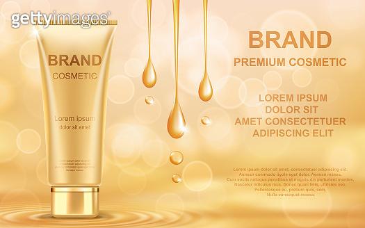 Golden oil cosmetic cream skin care ads. Template realistic vector illustration