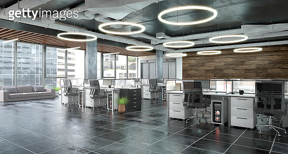 Open office interior. 3d illustration