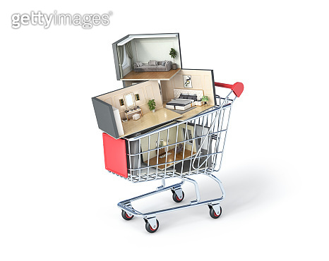 Interiors stacked in a market trolley, 3d illustration
