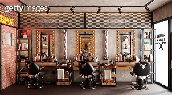 barbershop working place interior 3d illustration